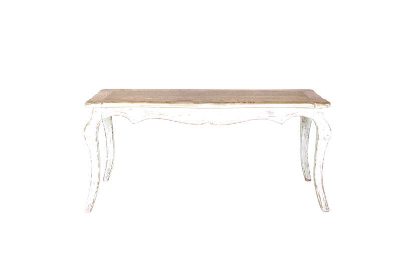 Mesa blanca tallada con tapa en madera natural maider for Mesa comedor blanca y madera
